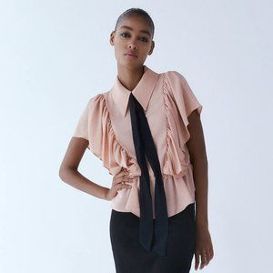 ZARA Blouse with Contrasting Tie